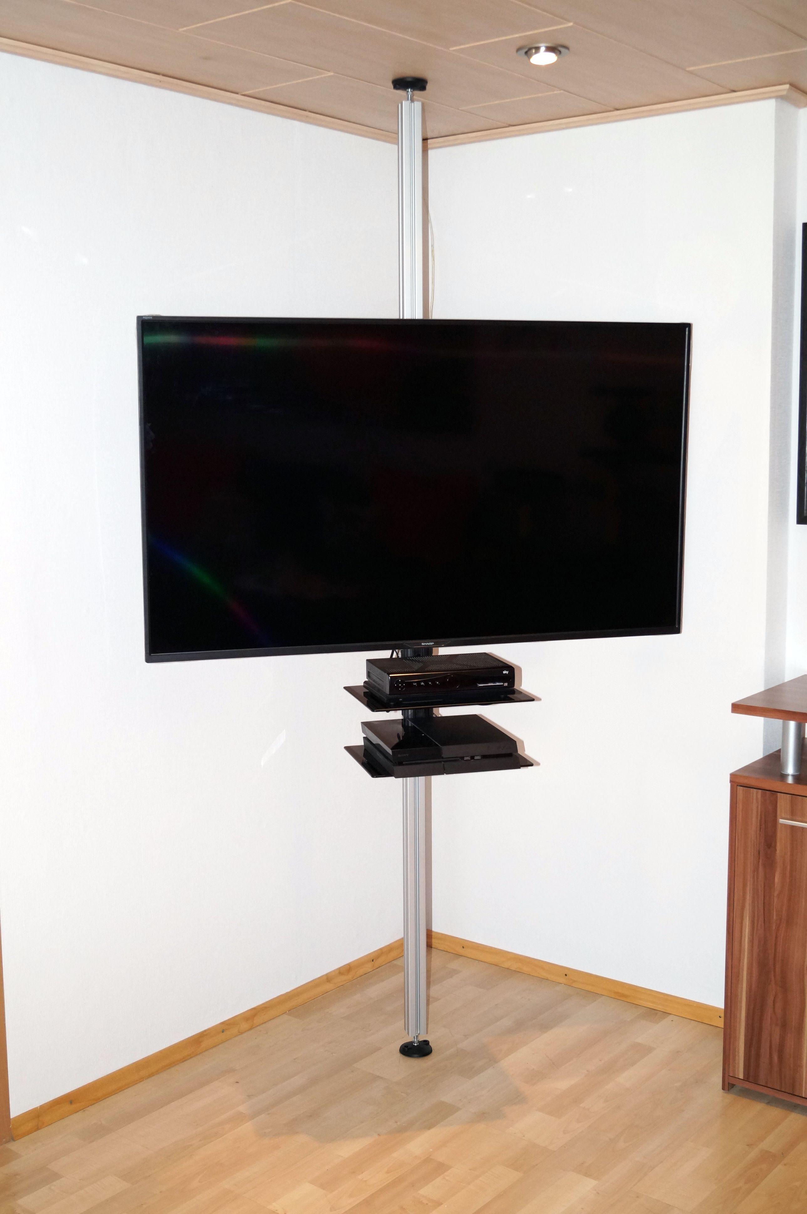 TV Stange Flexi, TV Säule, Boden-Decken Stange mit TV Halterung, 28-70 Zoll